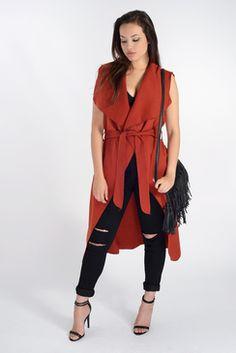 Marina Rust Sleeveless Belted Jacket