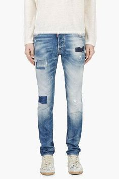 Dsquared2 Blue Patchwork Cool Guy Skinny Jeans for men | SSENSE