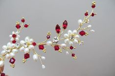 Red Bridal Headpiece  Red Bridal hair vine Red wedding