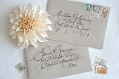 Oh So Beautiful Paper: Calligraphy Inspiration: Julie Song Ink Calligraphy Envelope, How To Write Calligraphy, Calligraphy Letters, Caligraphy, Beautiful Lettering, Beautiful Calligraphy, Modern Calligraphy, Addressing Wedding Invitations, Addressing Envelopes