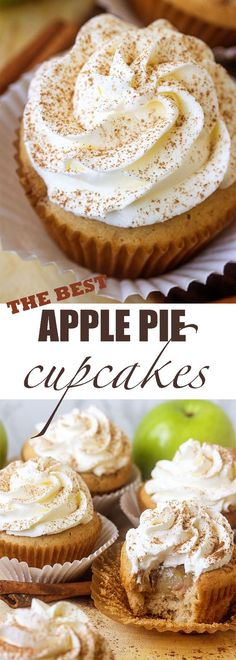 Apple Pie Cupcakes 2 Favorites in one. pie and cake! Apple Pie Cupcakes, Fun Cupcakes, Cupcake Cakes, Apple Pie Muffins, Apple Pie Cake, Healthy Cupcakes, Healthy Cupcake Recipes, Autumn Cupcakes, Autumn Cake
