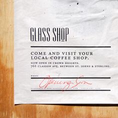 Glass Shop - Brooklyn coffee shop poster campaign from Michael Freimuth.