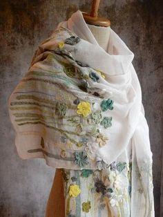 "The French Needle–""Fleurs de Mai"" linen scarf Crochet Quilt, Crochet Shawl, Hand Crochet, Embroidery Stitches, Hand Embroidery, Embroidery Designs, Embroidery Scarf, Crochet Scarves, Crochet Designs"