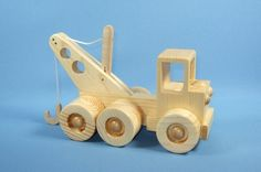 Handcrafted Wooden Toy Tow Truck by WoodcraftingByRobert on Etsy, $20.00
