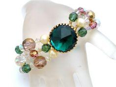 Signed Hattie Carnegie Bracelet Crystal Bead Vintage Multi Strand Rhinestone | eBay