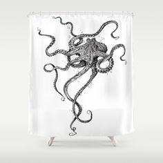Buy Shower Curtains featuring Octopus by TAOJB. Made from easy care polyester our designer shower curtains are printed in the USA and feature a 12 button-hole top for simple hanging.