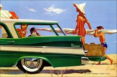 Fifties family trip to the beach! ~ 1957 Plymouth Sport Suburban ad.