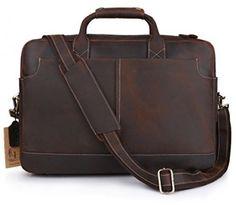 Kattee XZ369CE-FBA Vintage Simple Look Real Leather 17 Laptop Briefcase Bag