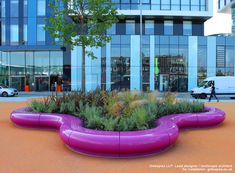 Halo seating was specified in bright pink to provide a splash of colour at Media City, Salford. The modular furniture creates a seating and planter area. Modular Furniture, Urban Furniture, Salford, Bright Pink, Color Splash, Halo, Planters, Chairs, City