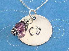 Baby footprint/birthstone remembrance pendants