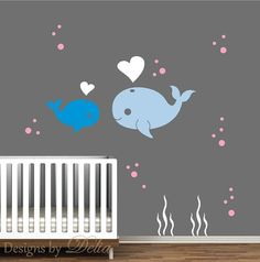 Nursery Wall Decal Whale and Baby Whale Love - so cute!!