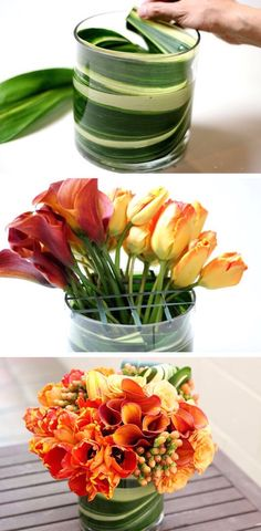 Use large leaves to disguise floral foam and stems. - Use large leaves to disguise floral foam and stems. — 13 Clever Flower Arrangement Tips & Tri - Diy Flowers, Fresh Flowers, Flower Vases, Flower Decorations, Beautiful Flowers, Wedding Flowers, Diy Flower Arrangements, Spring Flowers, Orchid Flowers