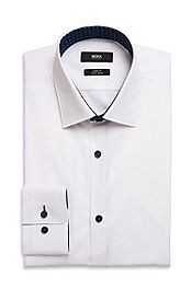 6412e8ce3 Hugo boss white shirt with black buttons and collar and cuff contrast Mens White  Suit,
