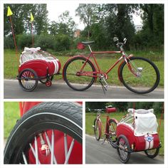 once an old pram carriage turned into a child cycle trailer......