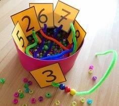 Quantity Collection: Counting with Beads - Teacher& Life- Mengenerfassung: Zählen mit Perlen – Teacher& Life Quantity Collection: Counting with Beads – Teacher& Life - Counting Activities, Preschool Learning Activities, Kindergarten Activities, Preschool Activities, Montessori Materials, Montessori Activities, Preschool Centers, Pre School, Crafts