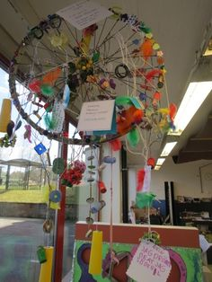 """""""Dreamcatcher""""- you can read the little notes with the children's dreams ≈≈ http://www.pinterest.com/kinderooacademy/reggio/"""