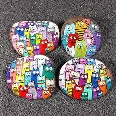 Hand Painted Rock Puzzle Cats to inch Rock Painting Painted Stone Your Choice Pebble Painting, Pebble Art, Stone Painting, Stone Crafts, Rock Crafts, Arts And Crafts, Painted Rocks Craft, Hand Painted Rocks, Painted Garden Rocks