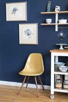 "This Is How to Deal with Honey Oak Cabinets: Paint the Walls Midnight Blue — Kitchen Spotlight Paint color: Behr's ""Starless Night"" Blue Accent Walls, Navy Blue Walls, Accent Chairs, Honey Oak Cabinets, Oak Kitchen Cabinets, Blue Cabinets, Paint For Kitchen Walls, Kitchen Paint Colors, Paint Walls"