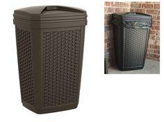 Wicker Trash Can Garbage Bags Waste Cans Container Bin Outdoor Indoor Resin Bins #WickerTrashCan