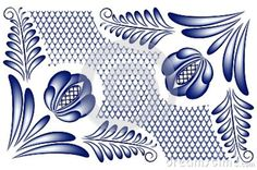 Gzhel Pattern | Blue floral pattern with flowers in the corners in the style gzhel ...