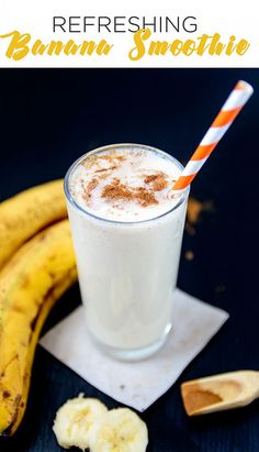 Super easy and healthy banana smoothie, made with milk and a pinch of cinnamon – a refreshing nutritious drink for hot summer days
