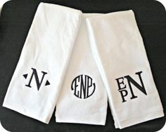 Monogram hand towels available in white, black, brown, red, and gray. These fonts and others available. Other font colors are offered as well