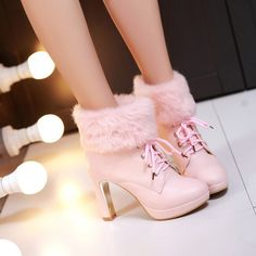Cute sweet candy color fluffy high-heeled boots