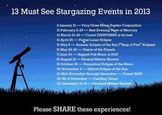 Stargazing events 2013 - plan your holiday for a stellar time