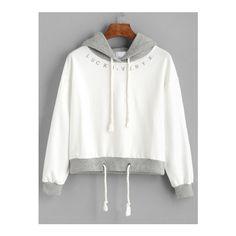 Beige Contrast Drawstring Hooded Sweatshirt ($16) ❤ liked on Polyvore featuring tops, hoodies, beige, sweater pullover, hooded pullover sweatshirt, hoodies pullover, sweatshirt hoodies and long sleeve hoodie