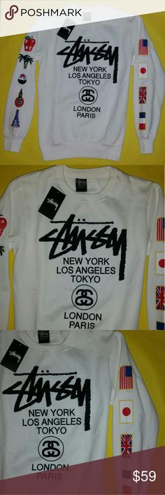 NWT Stussy White Crewneck Women's Sweatshirt Awesome and unique crew sweatshirt in women's size medium with designs on front, back and sleeves!  Brand new with tags and perfect! Women's size medium sweater. Stussy Tops Sweatshirts & Hoodies