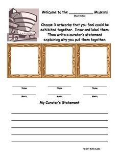 $1.00 Teachers pay Teachers Museum Curator - Art Inquiry Worksheet