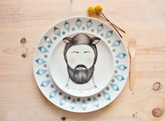 Set 2 plates of Sheep man - Carnival collection - Dinner Plates. €50,00, via Etsy.