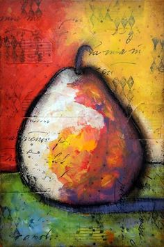 Mystic Tulip Mixed Media - ICAD #40, today I practice painting a pear in a mixed media style.