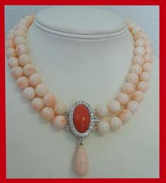 Necklace designed by Talya D with antique coral, diamonds and white gold.