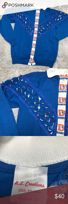 """Vintage Denver Broncos Grandma handmade special This is in excellent condition and the coolest vintage sweatshirt.  Nobody will have one like it!!! Measures 30"""" long and 22"""" armpit to armpit approximately Vintage Tops Sweatshirts & Hoodies"""