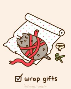 We love pusheen the cat! Here are a few of our favorite pictures of pusheen: Chat Kawaii, Kawaii Cat, Pusheen Christmas, Christmas Humor, Pusheen Stickers, Pusheen Love, Christmas To Do List, Xmas, Funny Kittens