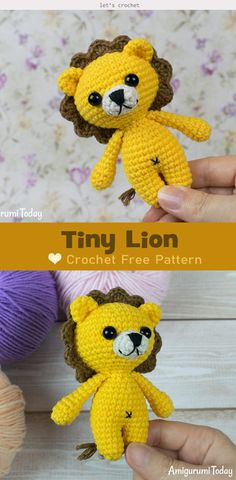 DIY a super cute and friendly Tiny Lion with this Tiny Lion Amigurumi Crochet Free Pattern. It looks so nice and sweet, a good playmate for your kids. Crochet Lion, Kawaii Crochet, Crochet Cat Pattern, Crochet Amigurumi Free Patterns, Crochet Teddy, Cute Crochet, Knitting Patterns Free, Crochet Toys, Crochet Animals