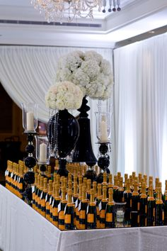 Featured Photographer: David Wittig Photography; Captivating Chicago Wedding at the Four Seasons Chicago - love this wedding favor table!