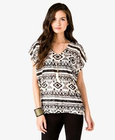 Tribal Print Burnout Top | FOREVER 21 - 2036541750
