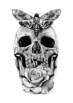 Skull Rose and Deaths head hawk moth by AaronKingIllustrator, £15.00: