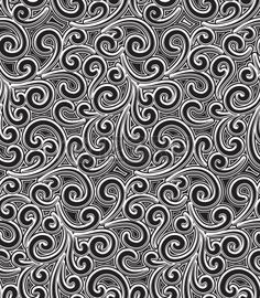 Absract floral swirls, black and white seamless pattern Vector