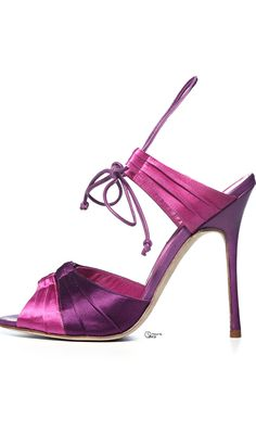 Manola Blahnik ~ Sling-Back Ankle Strap Pump, Purple/Pink