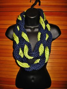 Navy Lime Green Infinity Scarf  Seattle by TheLittleBarntique, $14.95