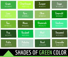 134 Shades of Green Color With Names, Hex, RGB, CMYK Codes