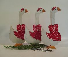 Christmas Geese 3 Vintage Wooden Goose Holiday Decor Handmade