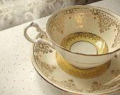 vintage yellow tea cup and saucer set, Royal Grafton English bone china tea set, 1950's gold cup saucer