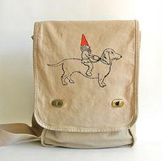 gnome and dachshund messenger bag