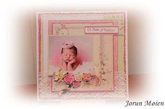 Et barnekort. Papir fra Pion. Bildet fra nettet. Roser fra Wild Orchid Crafts.