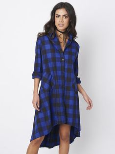 Casual Plaid Long Sleeve Loose Single-breasted Shirt Dress