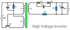 High Voltage inverter, Inverter circuit on basic of really taking a series of mosquito racket, a racket in which these mosquitoes require only a low voltage. With only 3 Volts course of this series has been able to work Diy Electronics, Electronics Projects, Electronic Circuit Projects, Arduino Projects, Simple Circuit, Led Light Design, Electrical Installation, Circuit Diagram, High Voltage